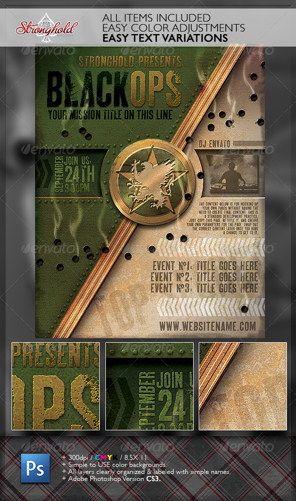 GraphicRiver Vintage Black Ops Military Crest Flyer Template 6384086