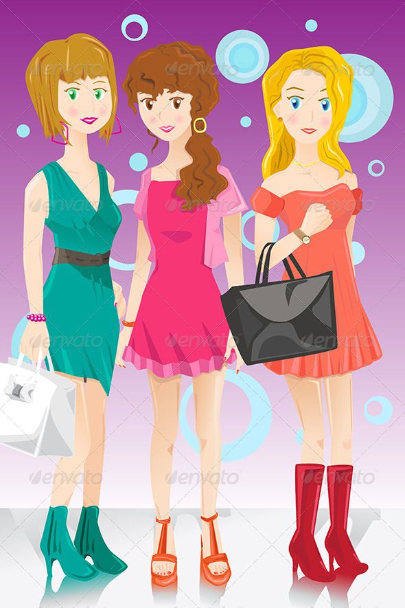 GraphicRiver Three Fashion Girls 6384283