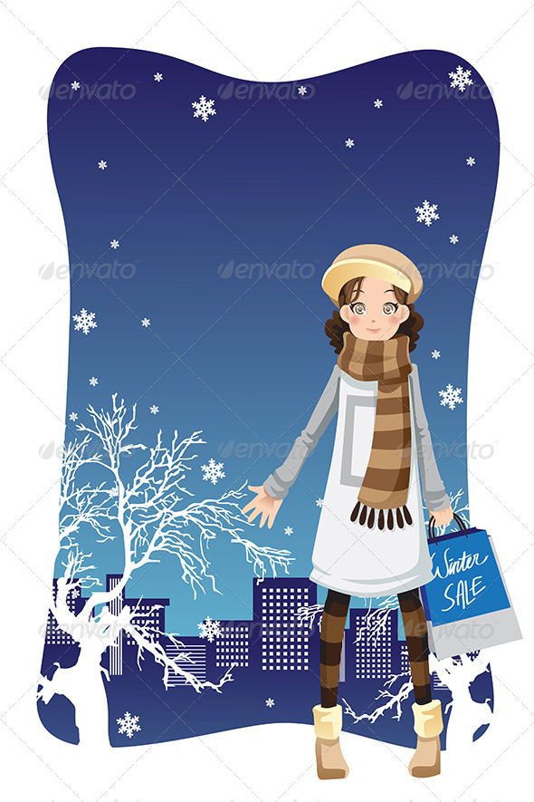 GraphicRiver Shopping Winter Girl 6384326