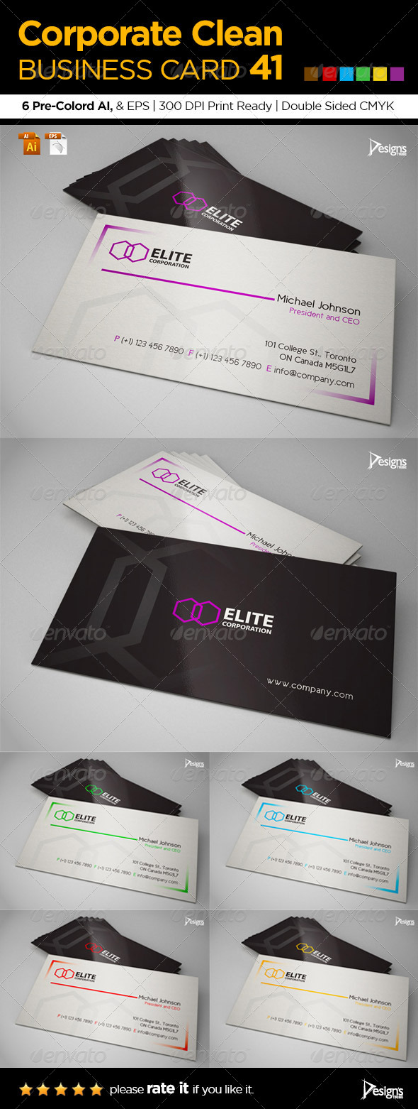 GraphicRiver Corporate Clean Business Card 41 6384540