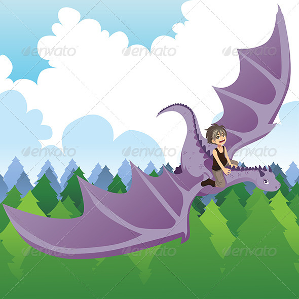 GraphicRiver Boy Riding Dragon 6385297