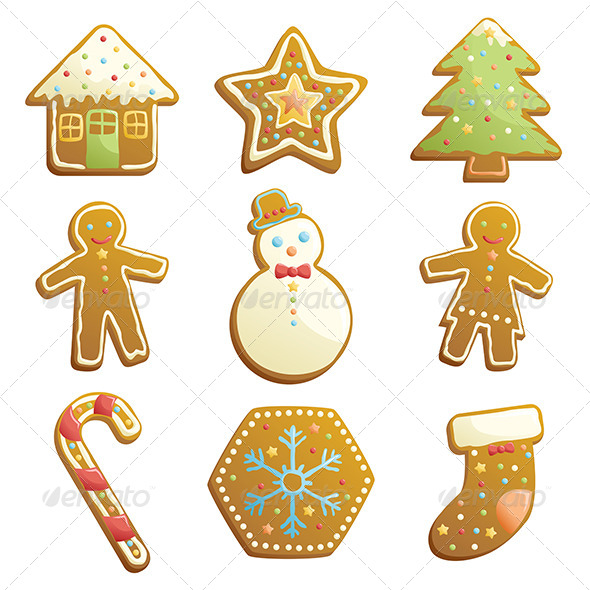 GraphicRiver Gingerbread Cookies Icons 6385455