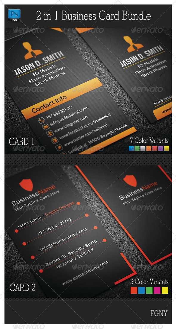 GraphicRiver 2in1 Business Card Bundle 6386016