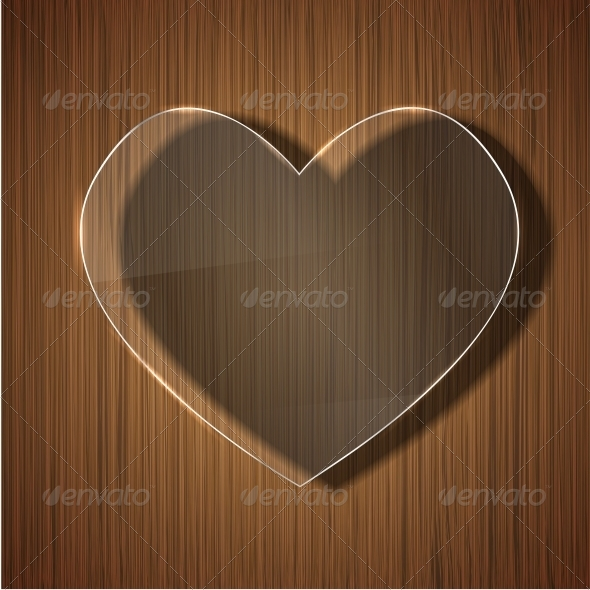 GraphicRiver Glass Heart on Wooden Background 6386583
