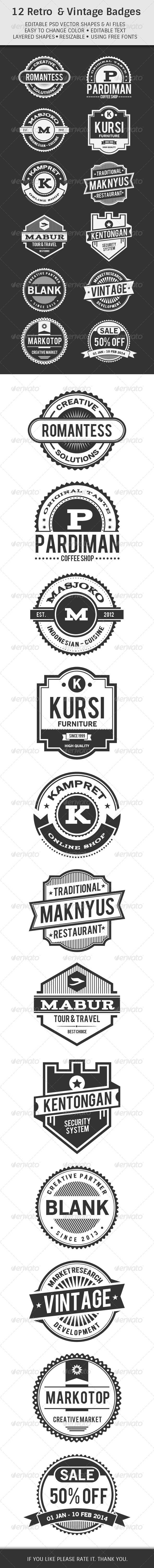 GraphicRiver 12 Retro & Vintage Badges 6386862