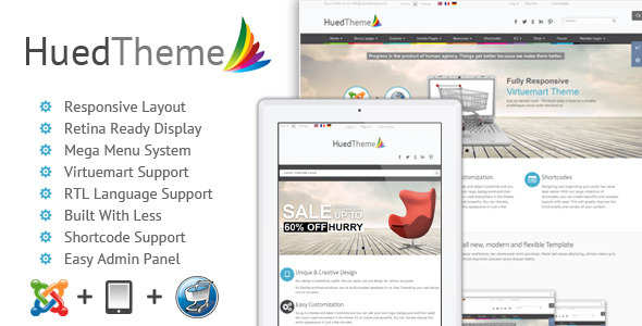 HuedTheme - Responsive Virtuemart Joomla Template - Shopping Retail