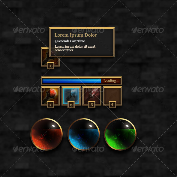 GraphicRiver RPG User Interface Elements Set #1 6387266