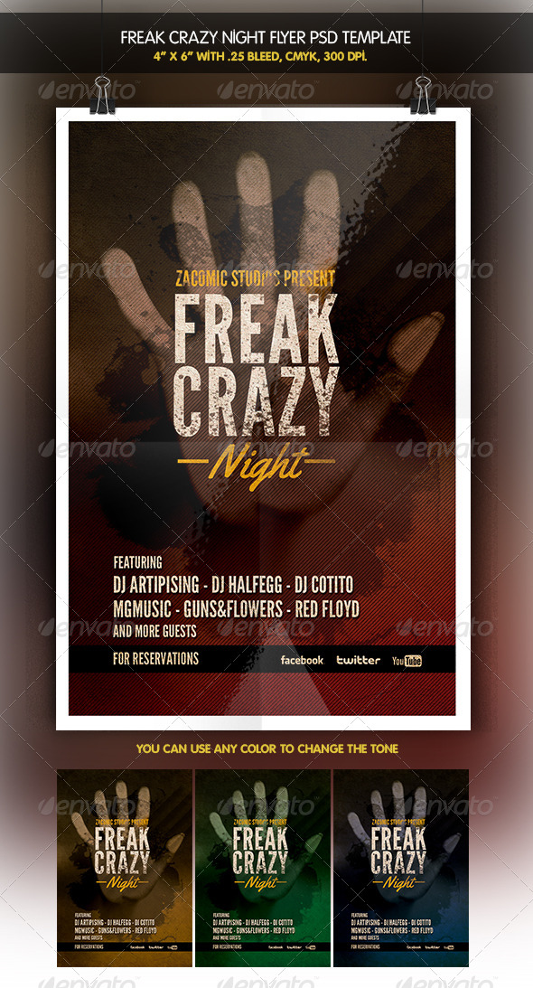 GraphicRiver Freak Night Party Flyer 6348165