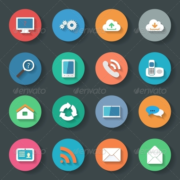 GraphicRiver Communication Icons Flat Set Design 6389755