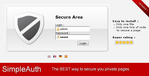 CodeCanyon SimpleAuth Very Simple Secure Login System 232148