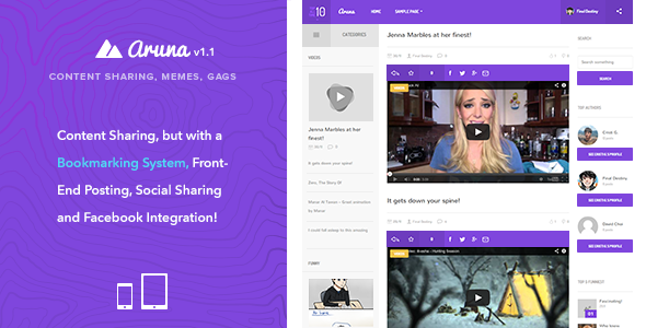 Aruna - Retina Content Sharing, Gag, Meme Theme - Entertainment WordPress
