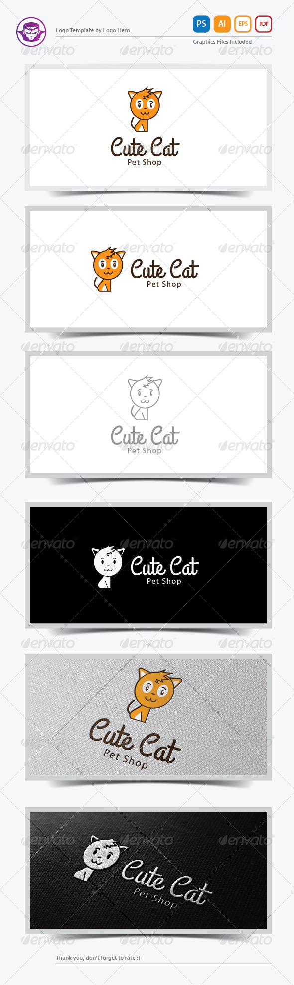 GraphicRiver Cute Cat Logo Template 6390746