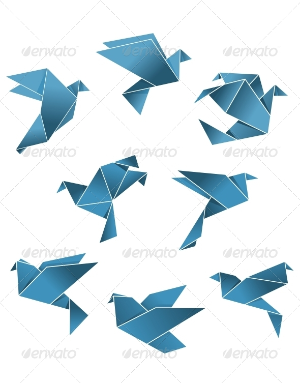 GraphicRiver Blue Paper Pigeons and Doves in Origami Style 6391144