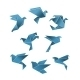 Blue Paper Pigeons and Doves in Origami Style - GraphicRiver Item for Sale