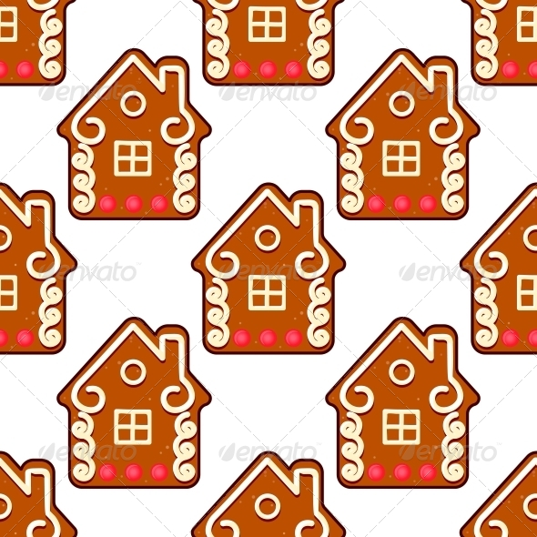 GraphicRiver Seamless Gingerbread Pattern with People Houses 6391169