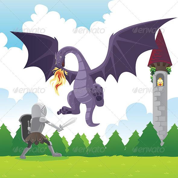 GraphicRiver Knight Fighting Dragon 6391814