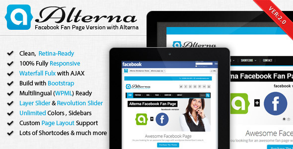 Alterna - Facebook Fan Page with WordPress Theme - Business Corporate