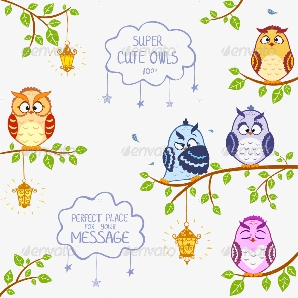 GraphicRiver Owls Sitting on Branches 6392837
