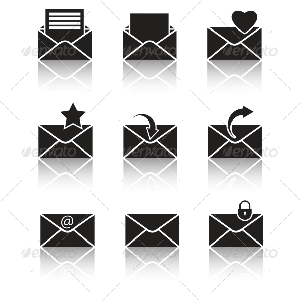 GraphicRiver Vector Black Web Icons Set on Gray 6394224