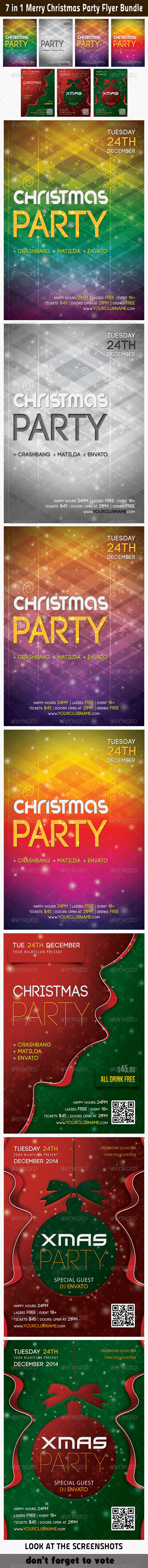 GraphicRiver 7 in 1 Merry Christmas Party Flyer Bundle 6395618