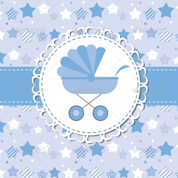 GraphicRiver Blue Baby Carriage for Newborn 6400138