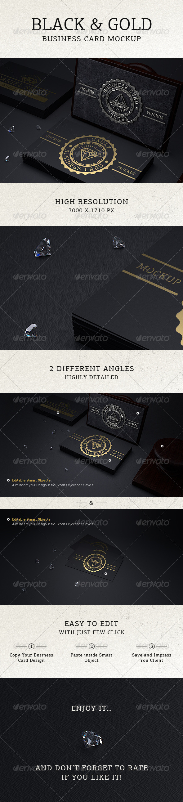 GraphicRiver Photorealistic Black & Gold Business Card Mock Up 6400458