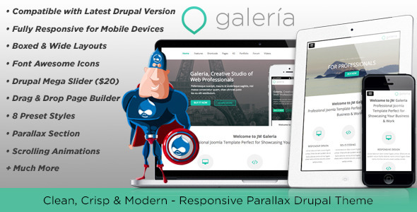 ThemeForest Galeria Responsive Creative Drupal Theme 6401610