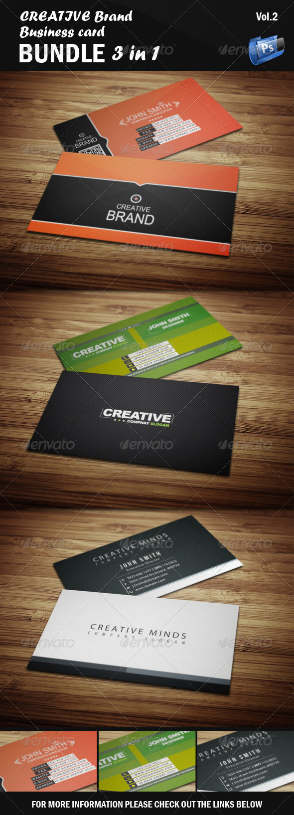 GraphicRiver Creative Business Card Bundle 3 in 1 [Vol.2] 6404745
