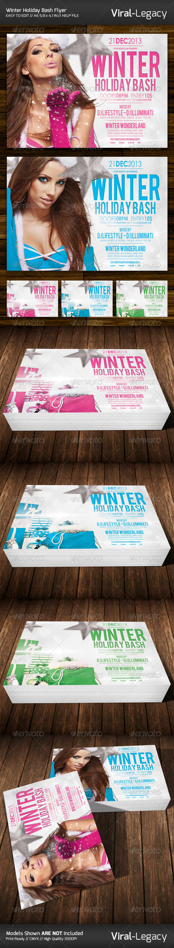 GraphicRiver Winter Holiday Bash Flyer 6405196