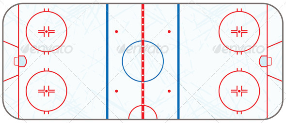 GraphicRiver Vector Ice Hockey Rink with Skate Marks 6405347