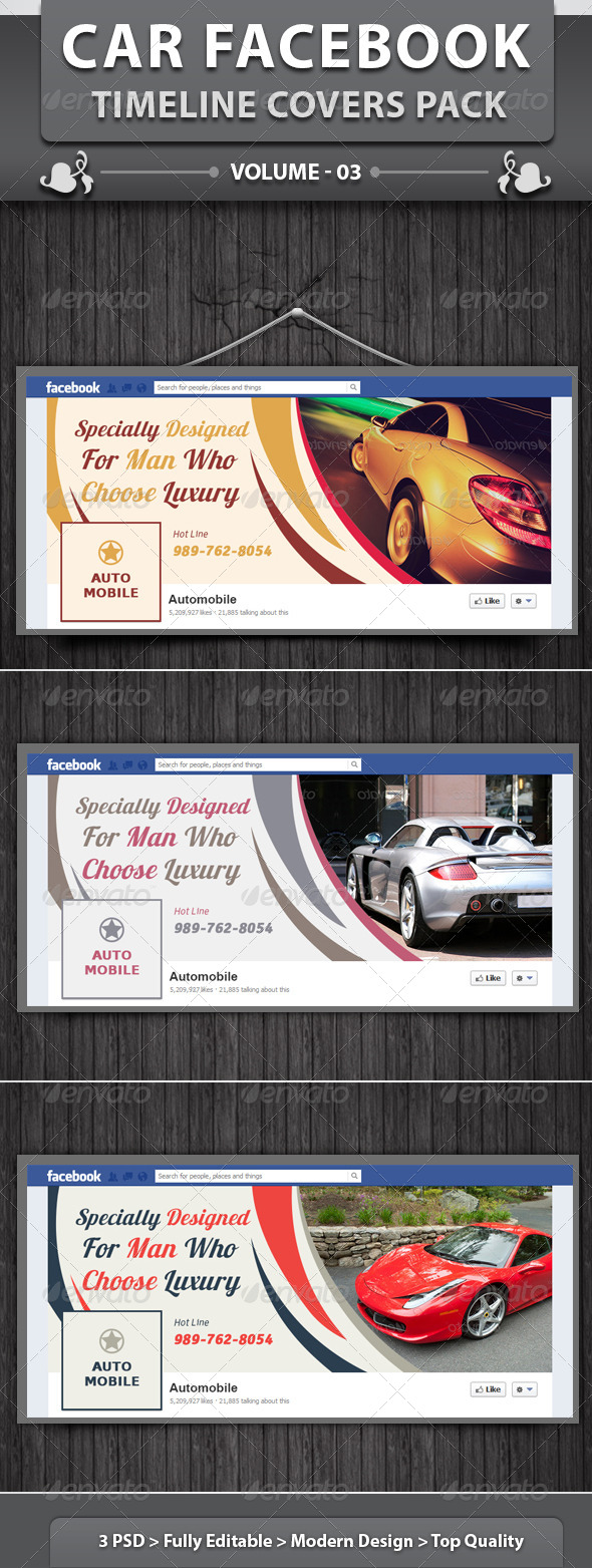 GraphicRiver Car Facebook Timeline Covers Pack v3 6405530