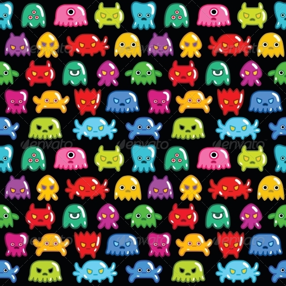 GraphicRiver Seamless Monsters Pattern 6406326
