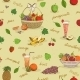 Fruits Seamless Pattern with Names - GraphicRiver Item for Sale