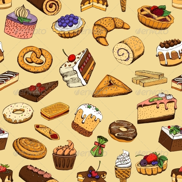 GraphicRiver Seamless Sweet Pastries 6406412