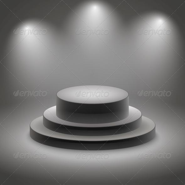 GraphicRiver Black Empty Illuminated Podium 6406450