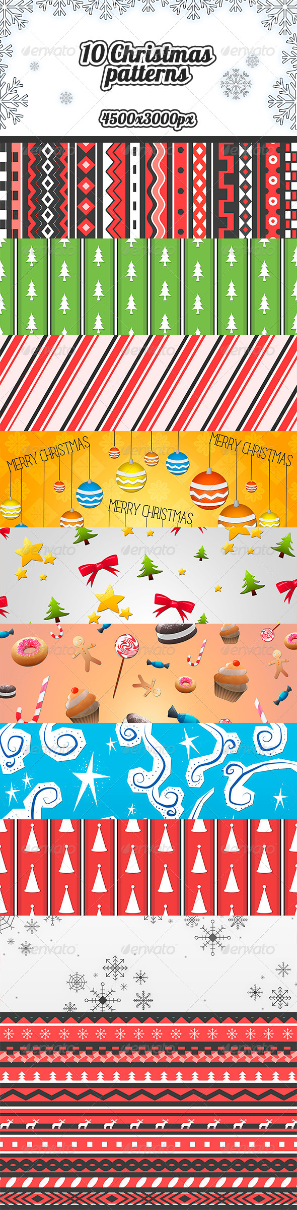 GraphicRiver 10 Christmas Patterns 6407493