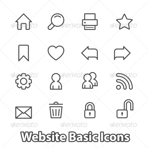 GraphicRiver Basic Set of Website Icons Contour Flat 6408662
