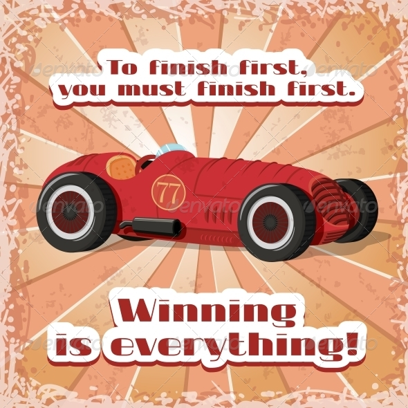 GraphicRiver One Retro Sport Car Postcard 6409058