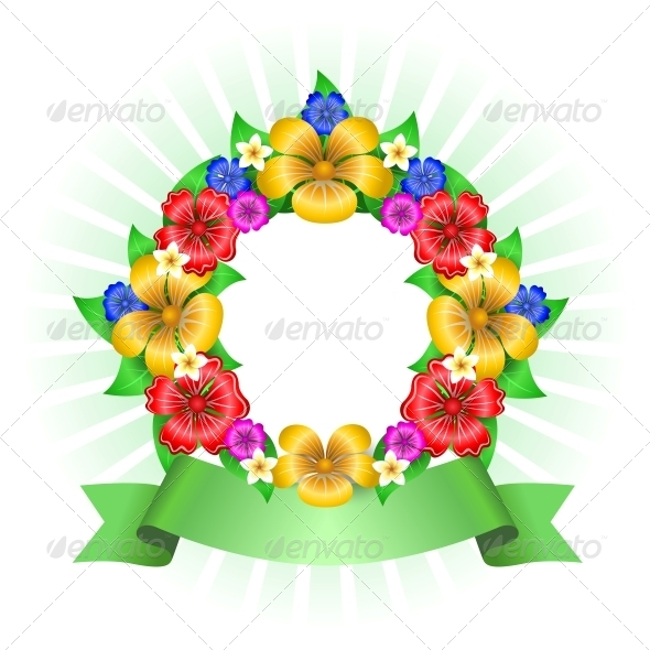 GraphicRiver Tropical Flowers Wreath Frame 6409173