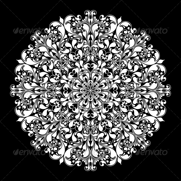 GraphicRiver Ornamental Round Pattern on Black 6409558
