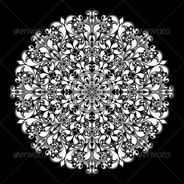 GraphicRiver Ornamental Round Pattern on Black 6409558