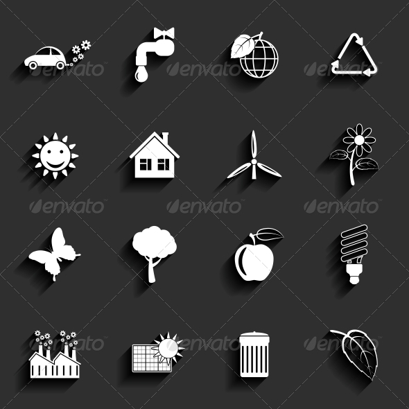 GraphicRiver Ecology Vector Flat Icons Set 6409619