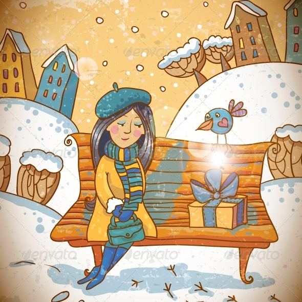 GraphicRiver Girl with a Gift on Winter Background 6411328