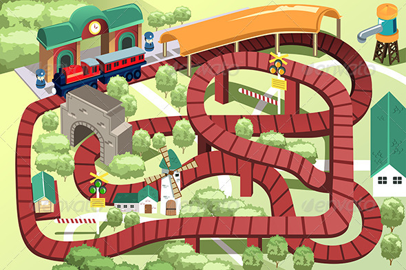 GraphicRiver Miniature Toy Train Track 6412667