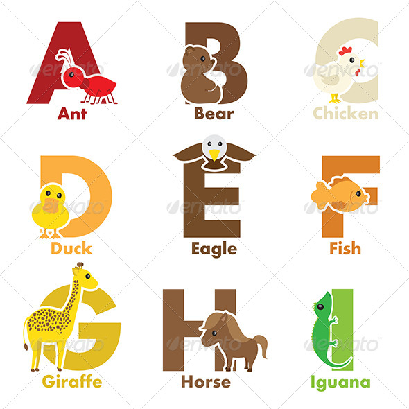 GraphicRiver Alphabet Animals 6413468