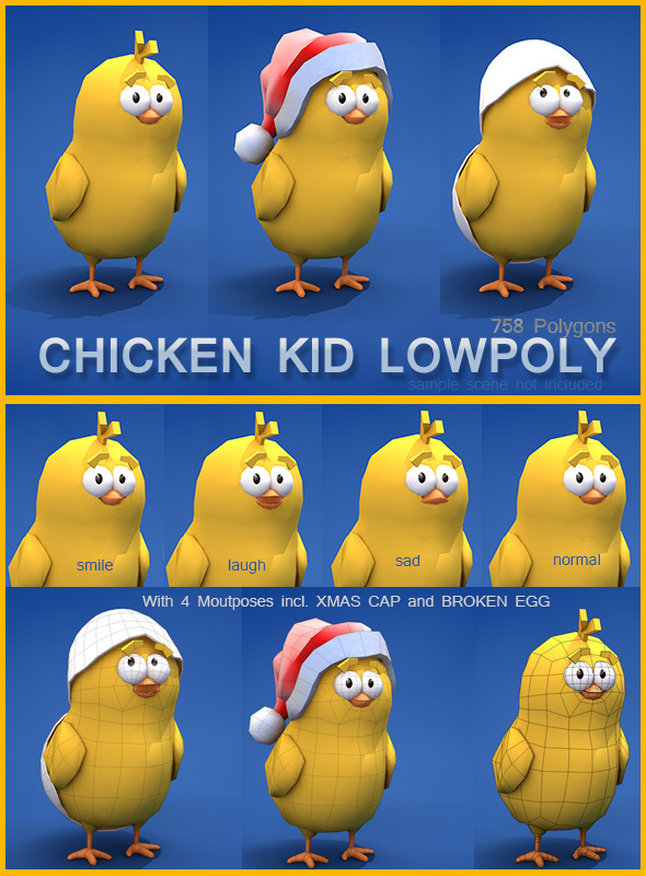 3DOcean Low Poly Chicken Kid 6414369