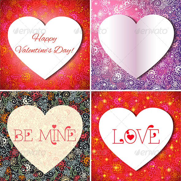 GraphicRiver Set of Valentine s Cards 6415567
