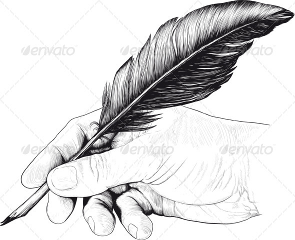 GraphicRiver Vintage Drawing of Hand with a Feather Pen 6415885