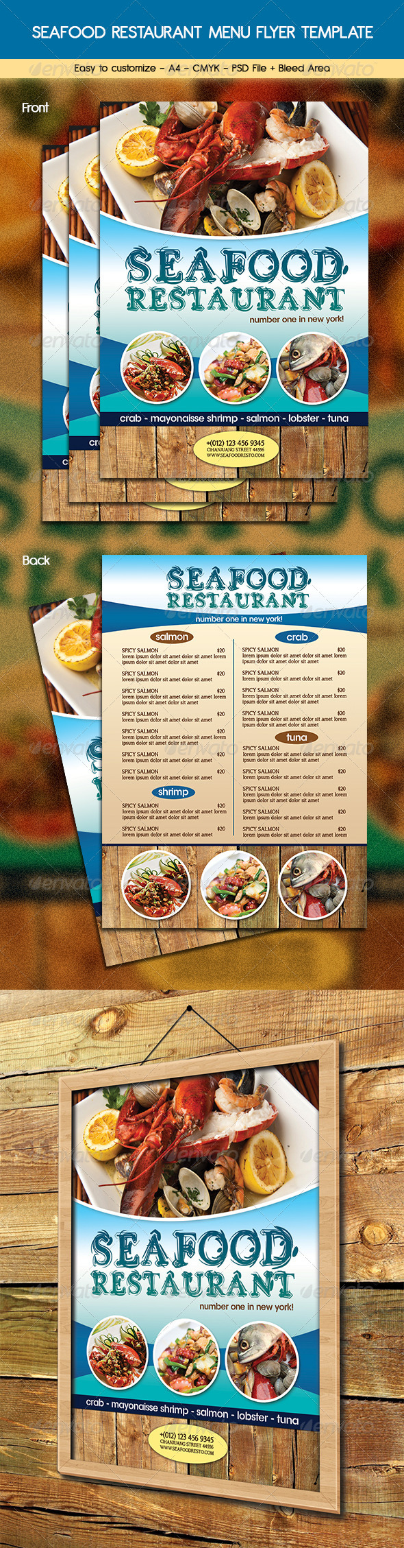 Print Templates - Seafood Restaurant Menu Flyer | GraphicRiver