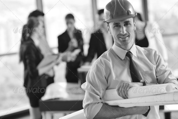 business people and construction engineers on meeting - Stock Photo - Images